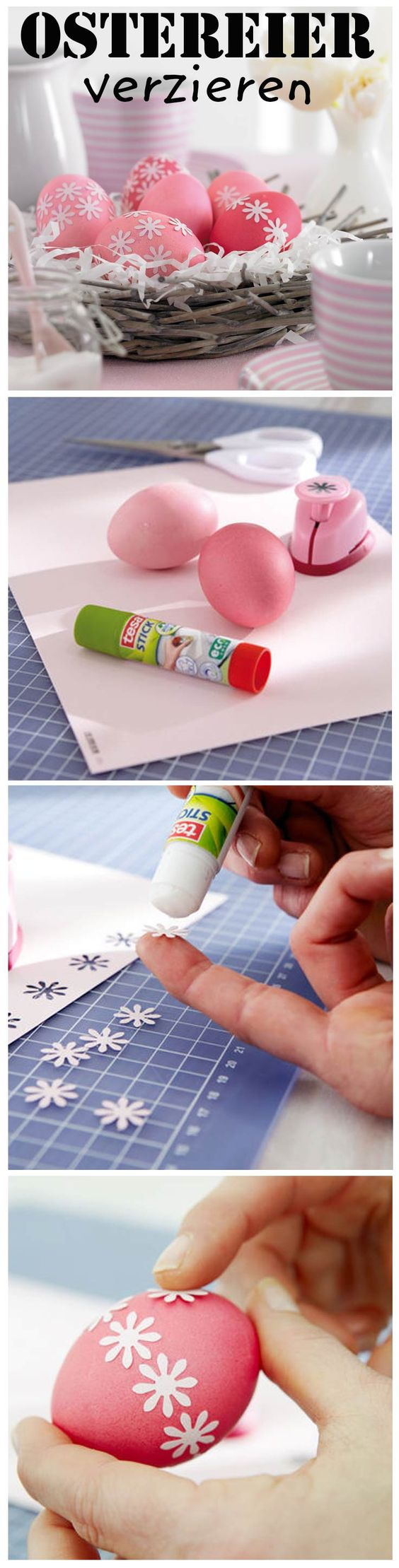 Mit einem Motivstanzer (zum Beispiel Blümchen) kannst du bunte Ostereier noch hübscher machen. Wir zeigen, wie man die Eier ganz fix verziert.