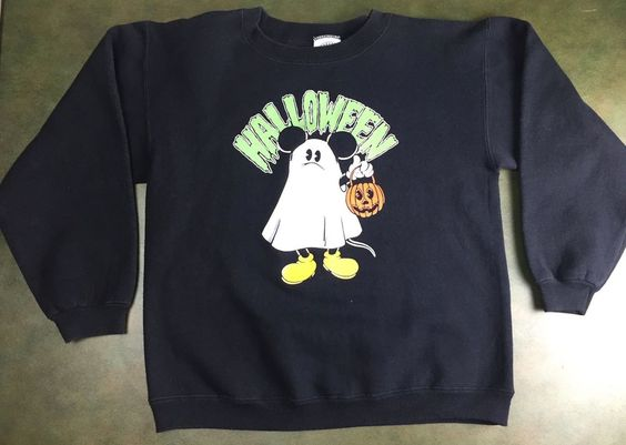 True Vintage 80s Mickey Mouse Halloween Ghost Graphic Sweatshirt in Collectibles, Disneyana, Contemporary (1968-Now) | eBay