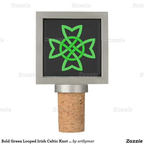 Bold Green Looped Irish Celtic Knot Design Wine Stopper