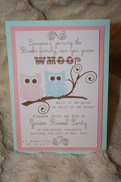 Gender reveal invite idea - love the owls.