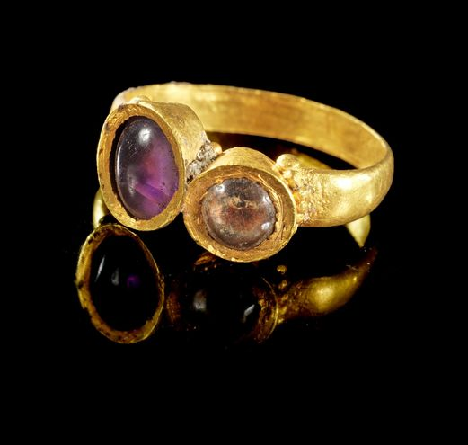 Ancient & Medieval History - Roman Gold, Amethyst and Quartz Ring, 3rd Century AD