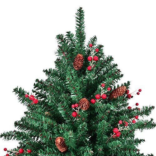 7ft Artificial Christmas Tree With Pine Cones Red Berries 1918 Pcs Pvc Tips Preattached Hinge 6ft Artificial Christmas Tree Green Christmas Tree Christmas Tree