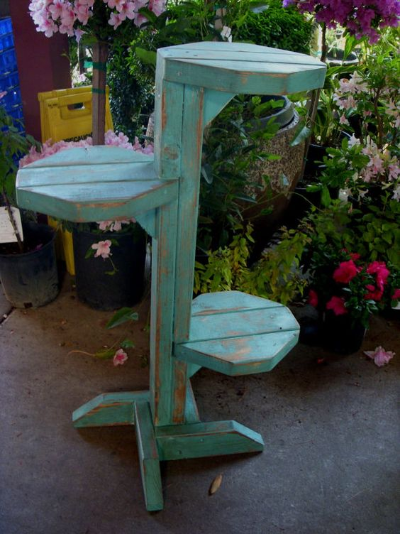 Wood Plant Stand Shabby Cottage Garden Furniture