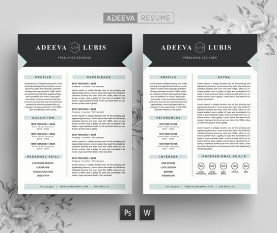 Modern Resume Template Lubis by AdeevaResume on @creativemarket