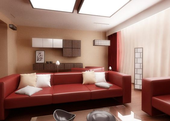, Inspirational Red Living Room Decor With Red Maroon Modern Sofa Color And Beige And White Cushions Also Light Brown Wall Paint Color Also Brown And White Mod Floating Cabinet Also Unique Lantern Design: The Ideas of Red Living Room Decor
