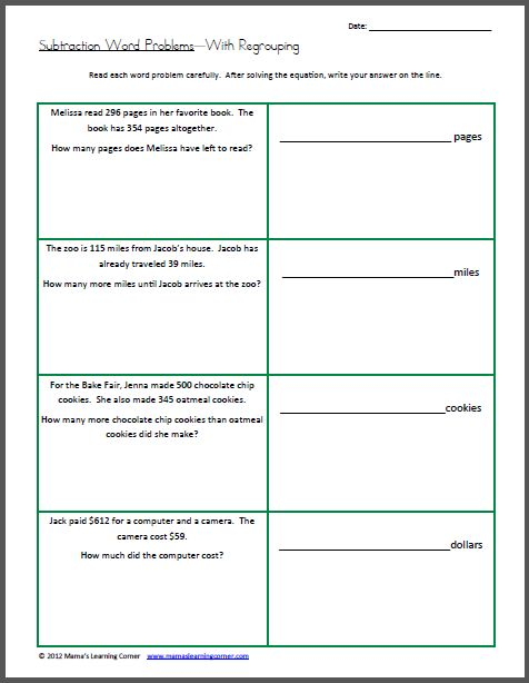 math worksheet : word problems words and learning on pinterest : Subtraction With Regrouping Worksheets 4th Grade