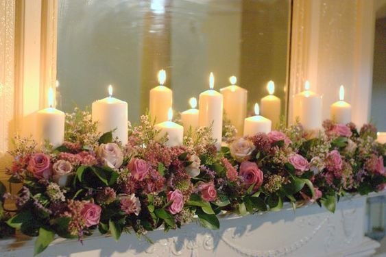 Church candles and vintage tea stained roses