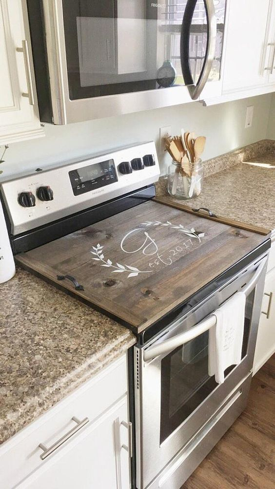 Description The Original Personalized Stove Top Cover Customized Wooden Stove Top Tray In Your Choice Of Color No De Stove Cover Stove Top Cover Home