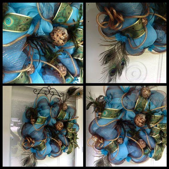 Beautiful and elegant peacock wreath by SimplyAdoorable12 on Etsy, $80.00