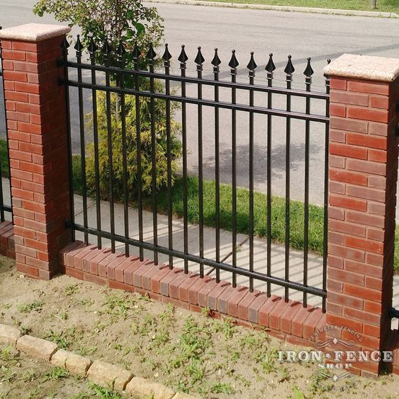 Our 5ft tall signature grade aluminum fence in classic for Brick and wrought iron fence