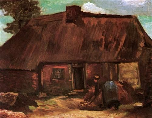 Cottage with Peasant Woman Digging - Vincent van Gogh