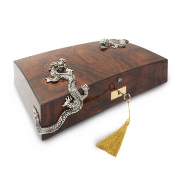 Cigar Humidor with Two Silver Dragons