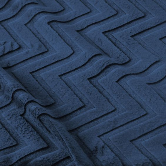 Embossed Chevron Cuddle Minky Fabric - Navy by Beverlys.com
