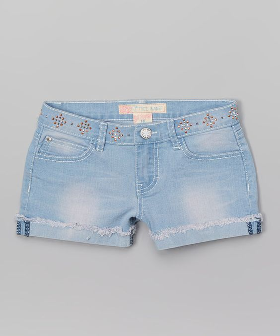 Look at this Free Planet Light Blue Nailhead Shorts - Girls on #zulily today!