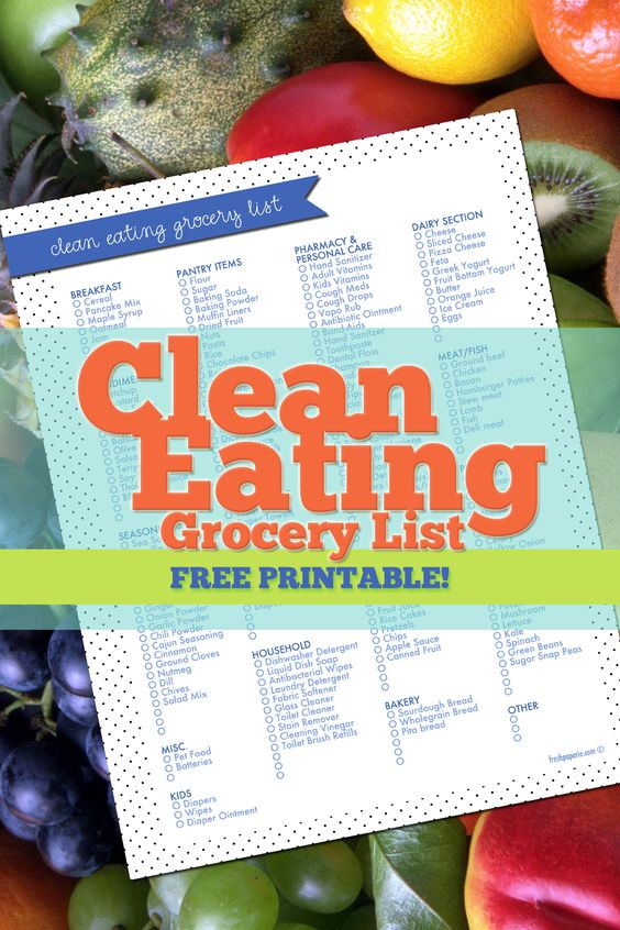 Clean Eating Grocery List Lists And