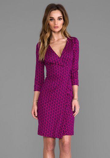 Diane von Furstenberg New Julian Two Dress in Leo Chain Mini Pink ...