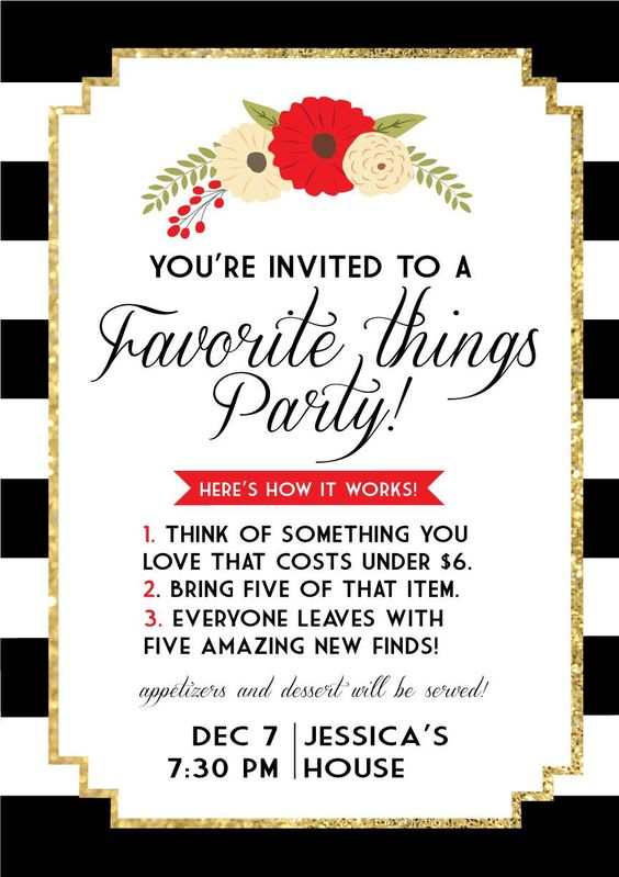 Favorite things invite make and do pinterest girls for Things to do at a housewarming party