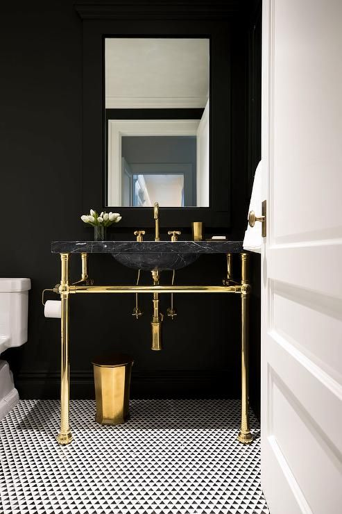 Gold And Black Contemporary Bathroom Features A Brass Waste Basket Placed Beneath On Black And Wh Bathroom Design Black Marble Interior Black And Gold Bathroom