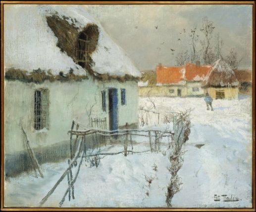 snow-covered cottages | Snow-covered Cottages -Johan Frederik Thaulow, Norwegian, 1847–1906 ...