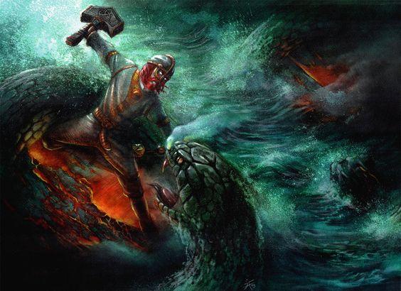 Thor 39 s fight with jormungandr the midgard serpent norse - God of war jormungandr ...