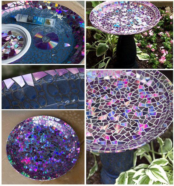 Mosaic tile birdbath using recycled dvds beautiful for Mosaic bathroom bin