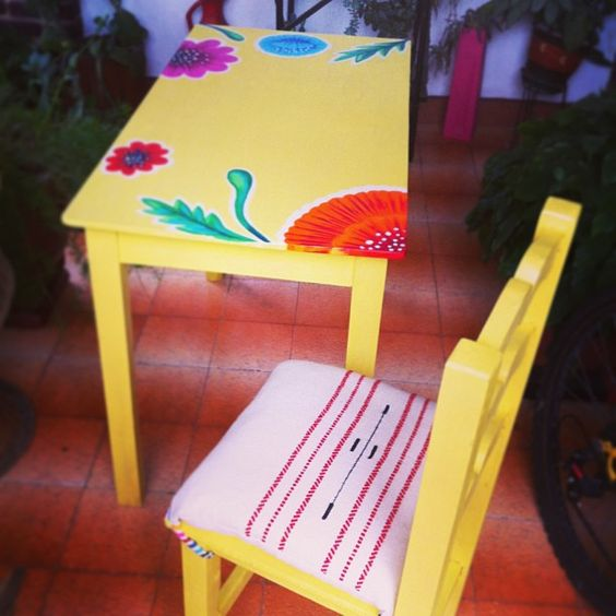 my mexican desk painted table and chair from the mercado