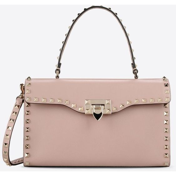 Valentino Garavani Rockstud Small Single Handle Bag (£1,285) ❤ liked on Polyvore featuring bags, handbags, poudre, lock bag, handle handbag, studded purse, valentino purses and zipper handbag