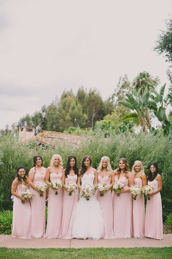 robe de Demosielle d'honneur rose longue bustier coeur pour les filles