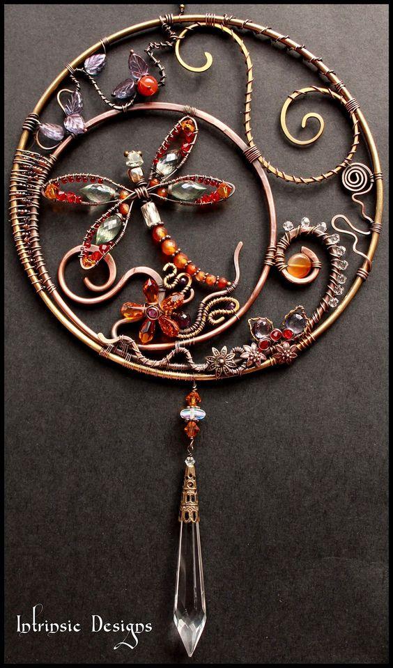 Gemstone, Swarovski, wire wrapped Dragonfly Suncatcher