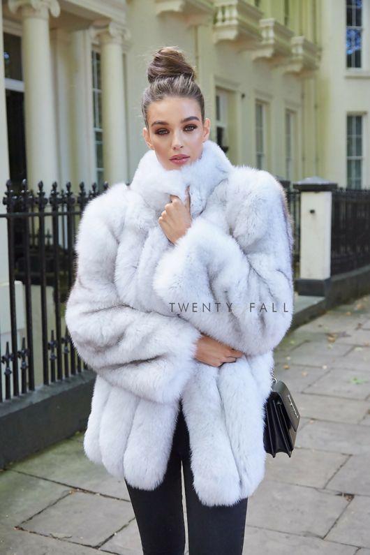 Natural Fox Fur Coat With Full Pelt, White Fox Fur Coat Outfit
