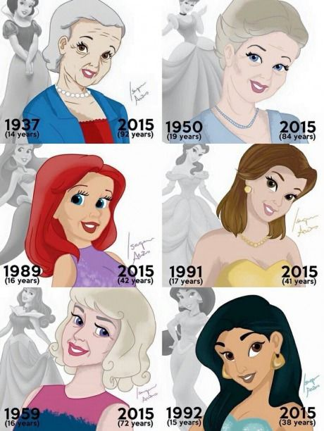 Belle aged gracefully and Ariel did not! Hahaha, too much time in the sun! Belle the bookworm was inside. Disney princesses in 2015