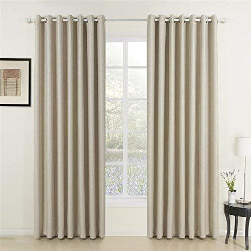 Iyuego Wide Curtains 120inch 300inch For Large Windows Classic Beige Curtain Solid Grommet Top Room Darkening Curtains Draperies With Multi Size Customs 150 W Beige Curtains Wide Curtains Large Curtains