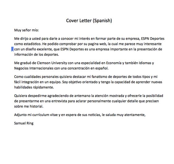 Spanish Cover Letter Sample Cover Letter (Spanish) Muy señor mío - cover letter in spanish