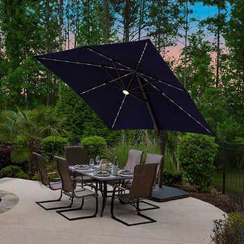Led Solar Square Cantilever Umbrella, Articulating Patio Umbrella