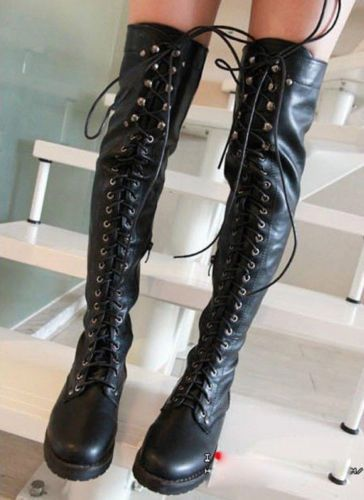New Women's Sexy Over The Knee Boots Lace Up Knight Boots ...
