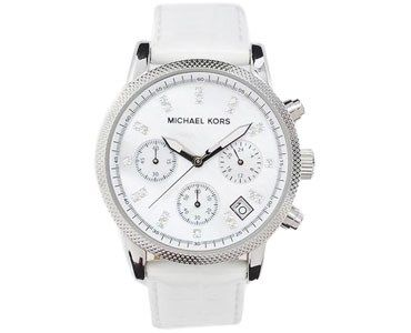 LADIES' CHRONOGRAPH LEATHER & CRYSTAL WATCH (MD01469782-WHITE)