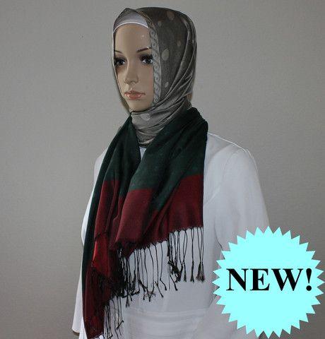 Ipekce Malibu Shawl - Grey / Green / Red Turkish Hijab Sal