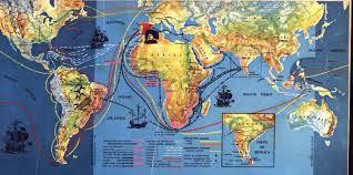 Este mapa diz-nos que os portugueses descobriram terras no continente americano, africano, asiático e na oceania