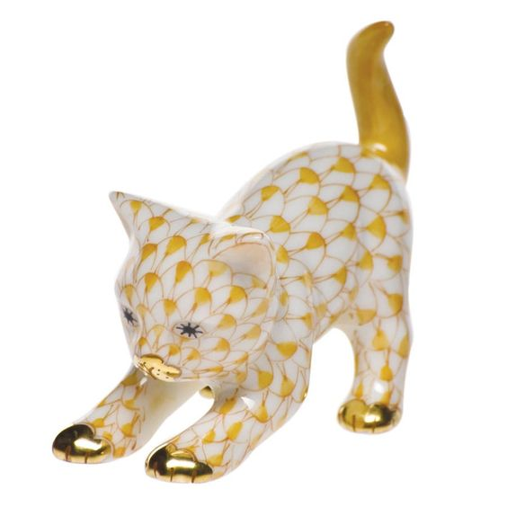 Herend Stretching Kitty: