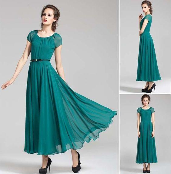 Details about NEW Chiffon Dress Short Sleeve Dress Full Length ...