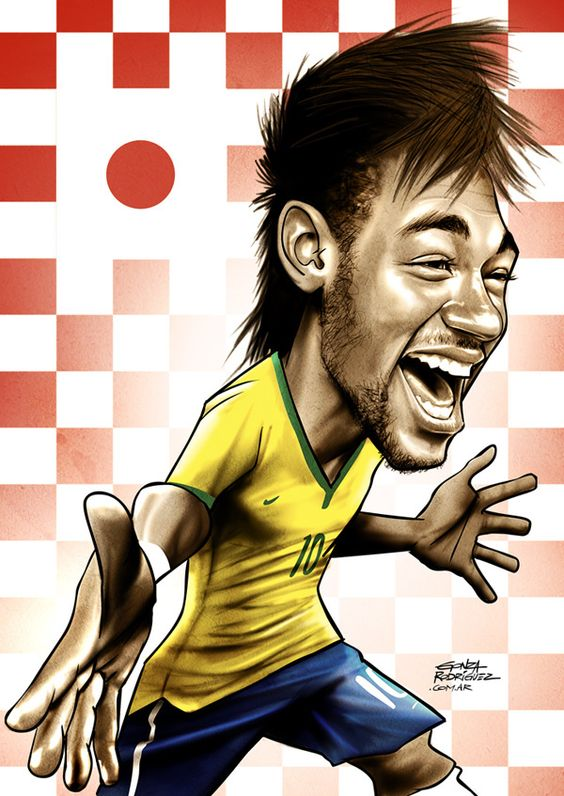 Brasil 2014 caricature of Neymar. I think of the song by Gustavo Lima and how Neymar used to celebrate with the dance.