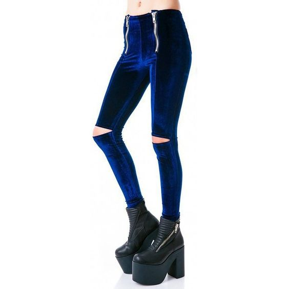 Yoins Blue Zip Front Velet Leggings with Ripped Knees ($19) ❤ liked on Polyvore featuring pants, leggings, blue, high waisted trousers, high-waisted trousers, blue skinny pants, high-waisted pants and torn leggings
