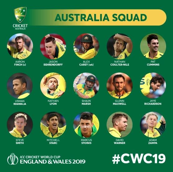 Smith Warner Return As Australia Announce Wc Squad World Cricket Cricket World Cup