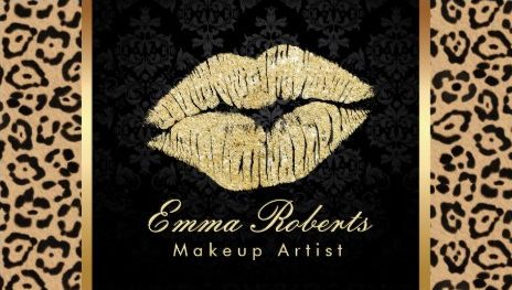 210 best girly cosmetology business cards images on pinterest gold kiss brown leopard print damask makeup artist business cards http reheart Images