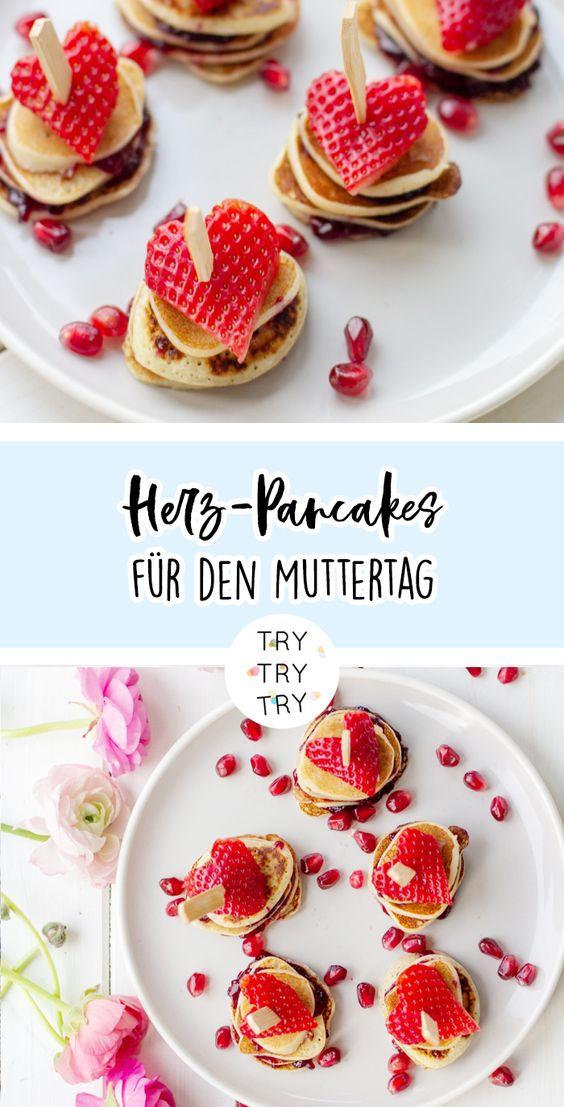 Herz-Pancakes für den Muttertag