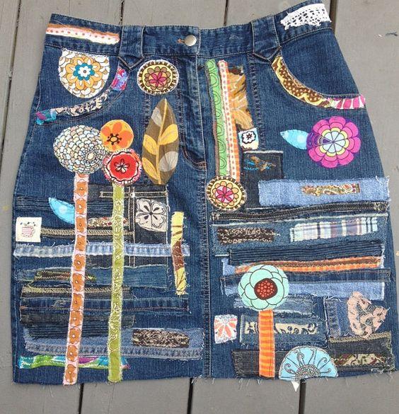 a denim hippie jean skirt recycled patchwork applique' embellished medium