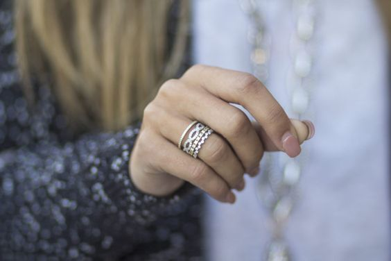 Perfect ring stack with affordable diamond simulant and sterling silver rings