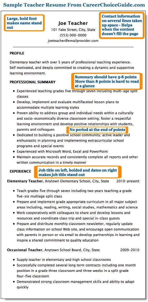 sample teacher resume page 1