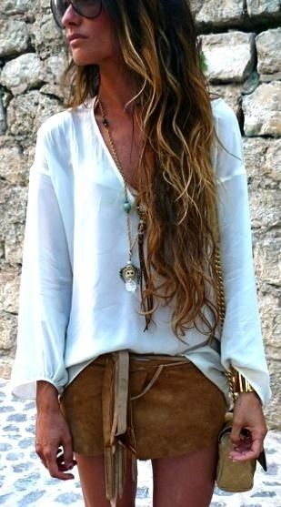 Sexy boho chic white blouse, modern hippie grunge style short skirt w/ layered gypsy necklaces..: