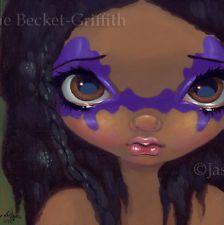 Fairy Face 129 Jasmine Becket-Griffith Tribal Big Eye Tattoo SIGNED 6x6 PRINT